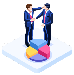 communication table illustration with worker and client shaking hands