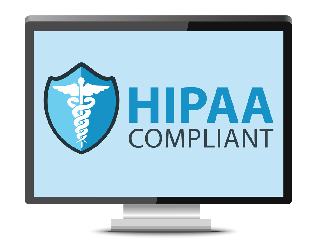 HIPAA compliant on desktop monitor